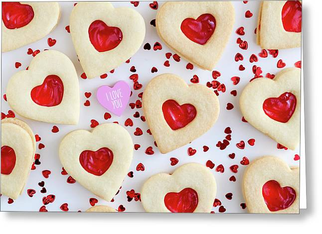 I Love You Heart Cookies Greeting Card by Teri Virbickis