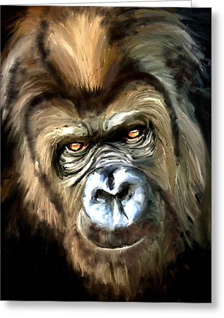 Gorilla Portrait Greeting Card by James Shepherd