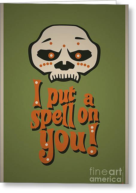 I Put A Spell On You Voodoo Retro Poster Greeting Card