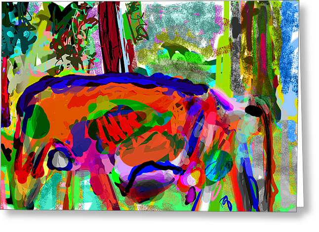 Art Is Messy Greeting Cards - I Saw this Cow Greeting Card by James Thomas