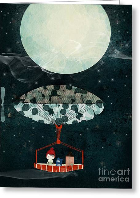 Greeting Card featuring the painting I See The Moon Too by Bri B
