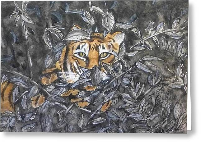 Greeting Card featuring the painting I See You... Orange Tiger by Kelly Mills