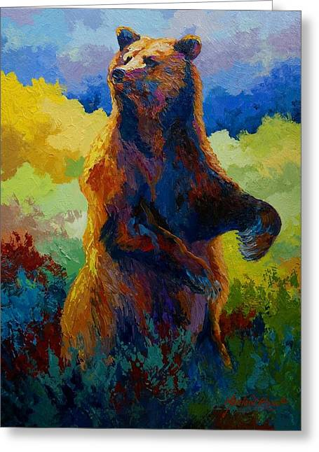 I Spy - Grizzly Bear Greeting Card by Marion Rose