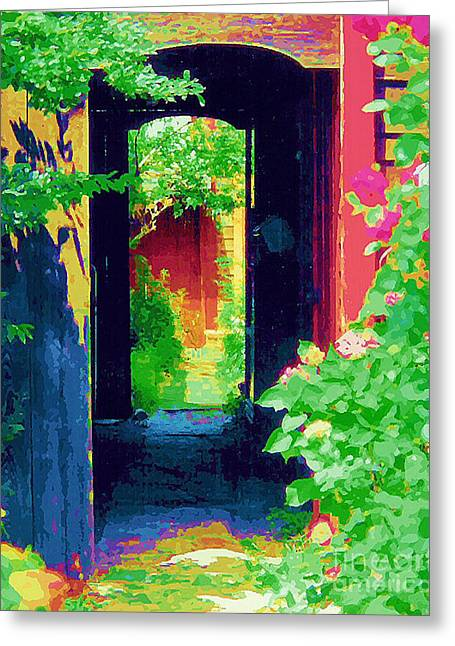 I Stand At The Door And Knock Greeting Card by Diane E Berry