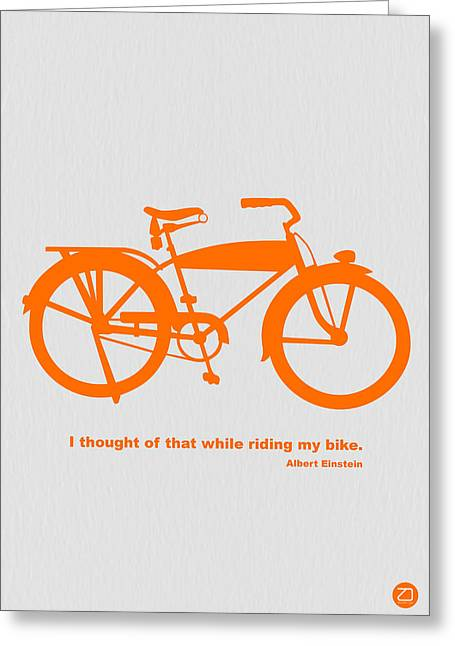 Cartoon Greeting Cards - I Thought Of That While Riding My Bike Greeting Card by Naxart Studio