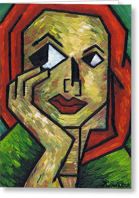 Pondering Paintings Greeting Cards - I Wonder Greeting Card by Kamil Swiatek