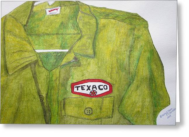 Greeting Card featuring the painting I Worked At Texaco by Kathy Marrs Chandler