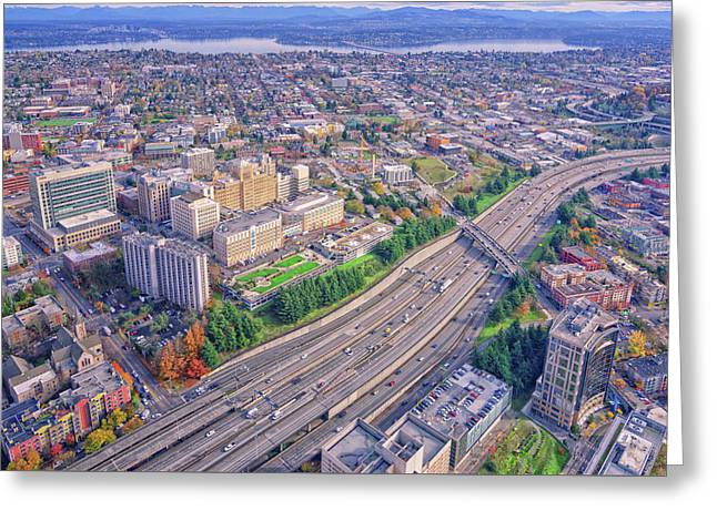 I5 Seattle Aerial View Greeting Card