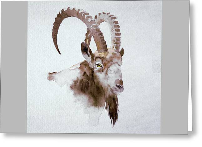 Ibex Greeting Card by Attila Meszlenyi