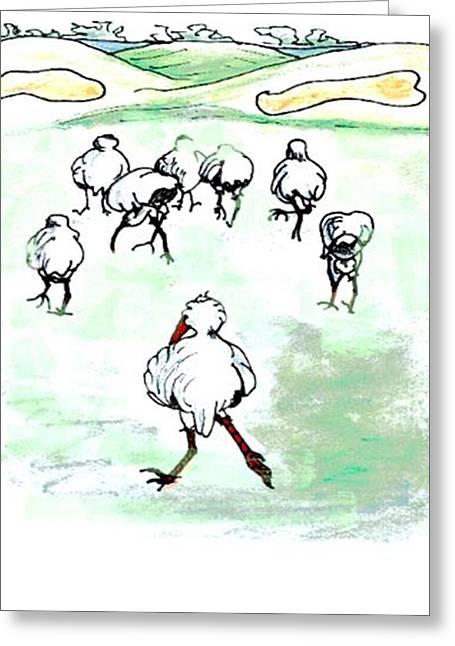 Ibis Tries To Keep Up Greeting Card by Carol Allen Anfinsen
