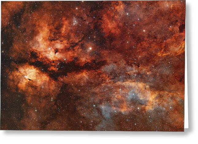 Ic 1318 And The Butterfly Nebula Greeting Card by Rolf Geissinger