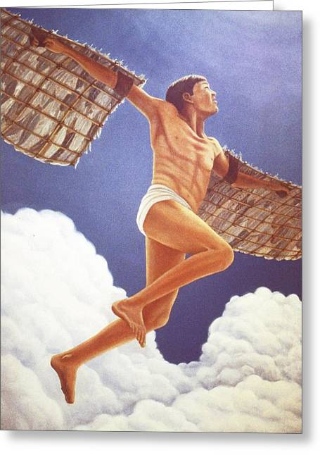 Greeting Card featuring the painting Icarus Ascending by Laurie Stewart