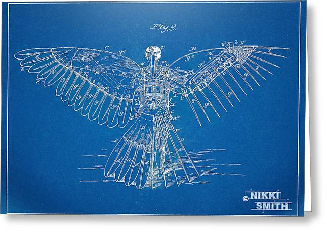 Steam-punk Greeting Cards - Icarus Human Flight Patent Artwork Greeting Card by Nikki Marie Smith