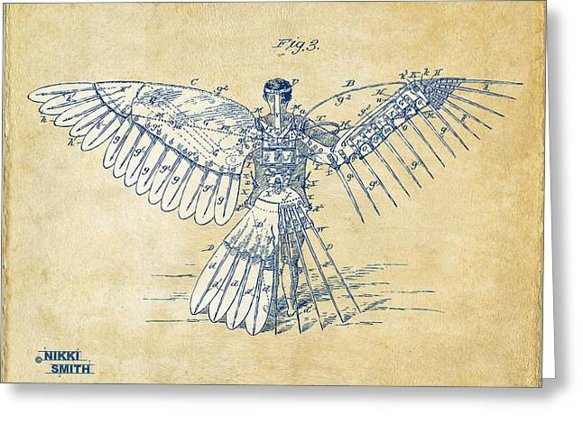 Angel Blues Greeting Cards - Icarus Human Flight Patent Artwork - Vintage Greeting Card by Nikki Smith