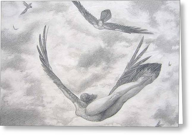 Icarus Suits Greeting Card by Julianna Ziegler