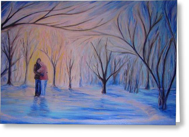 Park Scene Paintings Greeting Cards - Ice and Embers Greeting Card by Daniel W Green