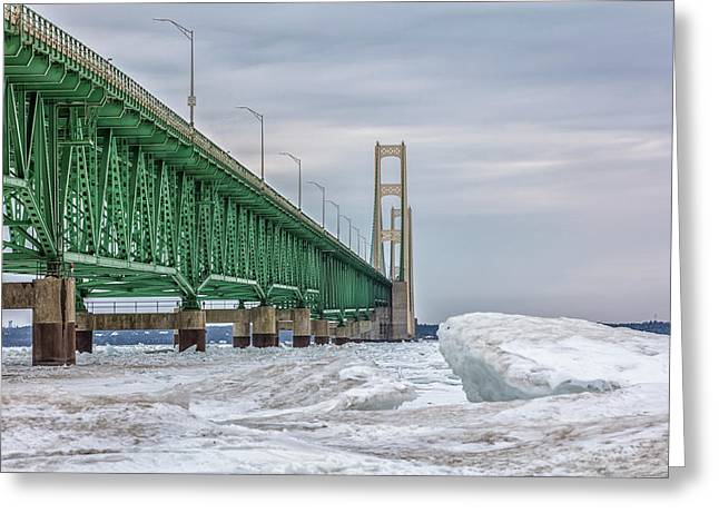 Greeting Card featuring the photograph Ice And Mackinac Bridge  by John McGraw