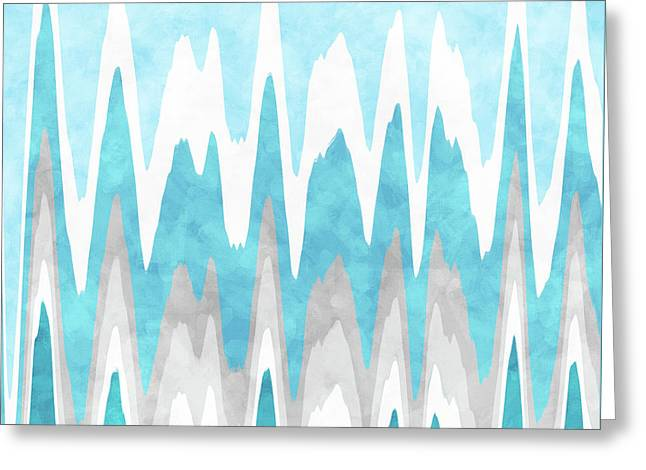 Greeting Card featuring the mixed media Ice Blue Abstract by Christina Rollo