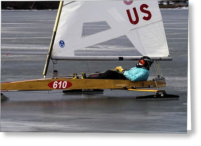 Ice Boat - Madison - Wisconsin  Greeting Card by Steven Ralser