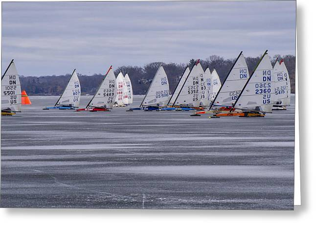 Ice Boat Racing - Madison - Wisconsin Greeting Card