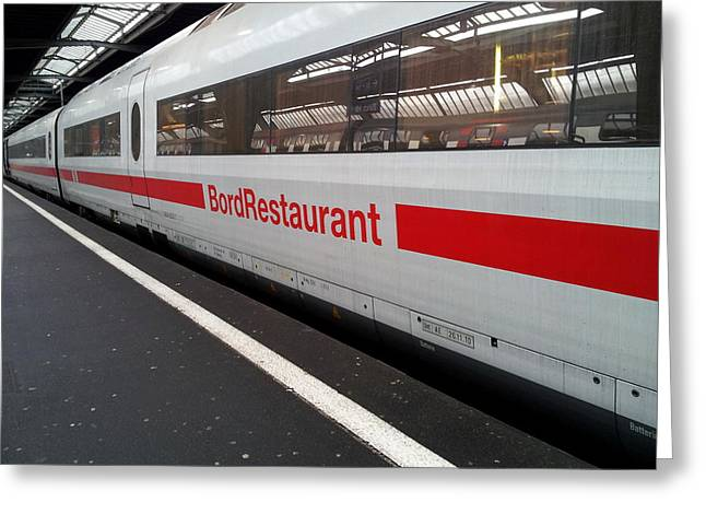 Ice Bord Restaurant At Zurich Mainstation Greeting Card