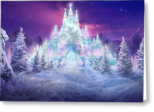 Snow Scene Mixed Media Greeting Cards - Ice Castle Greeting Card by Philip Straub