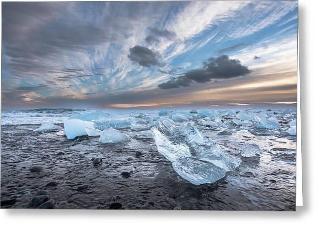 Ice Chunks Sunset 2 Greeting Card