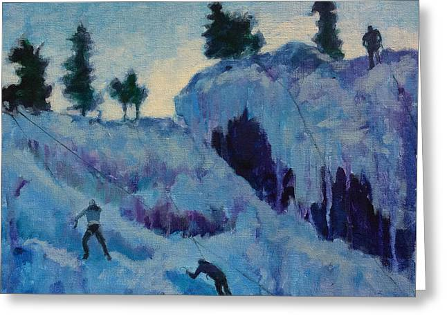 Ice Climbing Greeting Card by Marion Corbin Mayer