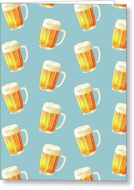 Ice Cold Beer Pattern Greeting Card