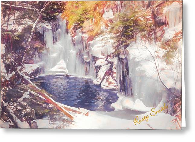Ice Cold View Of Sages Ravine. Northwest Connecticut Greeting Card