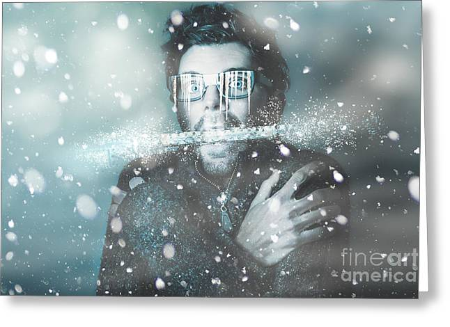 Ice Cold Winter Man In A Freeze Of Snow And Frost  Greeting Card by Jorgo Photography - Wall Art Gallery