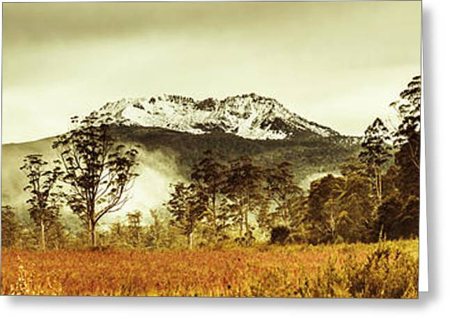 Ice Covered Mountain Panorama In Tasmania Greeting Card