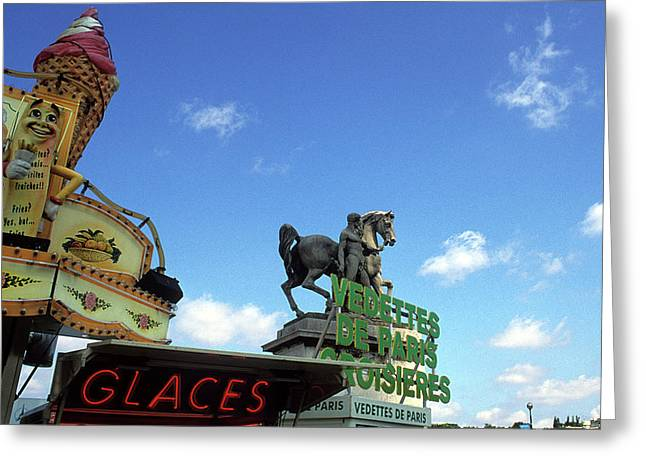 Ice Cream And The Statue Greeting Card by Kathy Yates