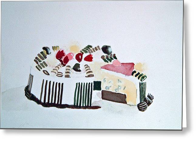 Ice Cream Cake Watercolor Greeting Card