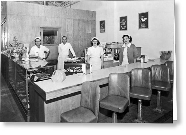 Ice Cream Counter Greeting Card by Underwood Archives