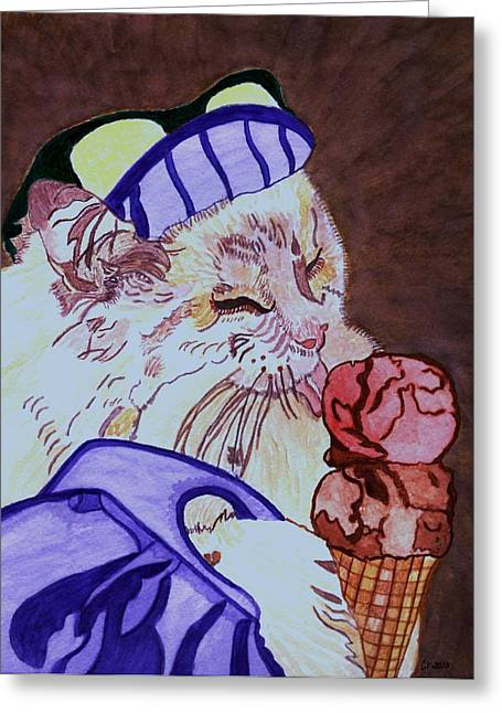 Ice Cream Kitty Greeting Card by Connie Valasco