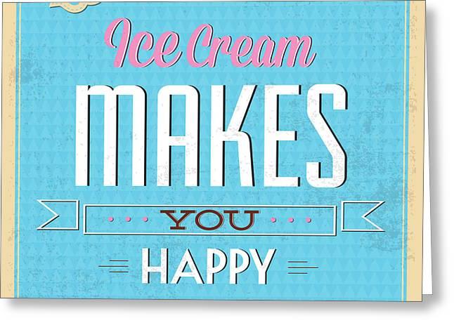Ice Cream Greeting Card by Naxart Studio