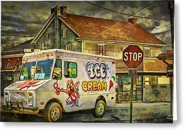 Ice Cream Truck Crossing An Urban Intersection Greeting Card by Randall Nyhof