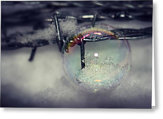 Ice Crystals To Bubble In Bubble On Wire Mesh Greeting Card