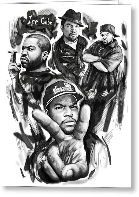 Ice Cube Blackwhite Group Art Drawing Poster Greeting Card