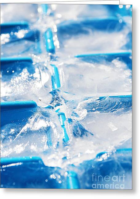 Wet Greeting Cards - Ice Cubes Greeting Card by Carlos Caetano