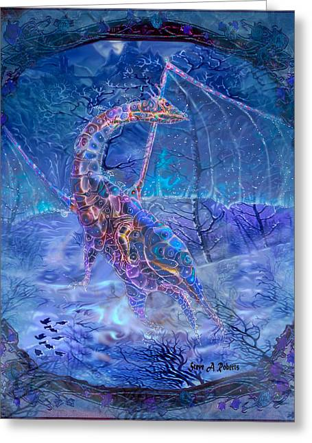 Greeting Card featuring the painting Ice Dragon by Steve Roberts