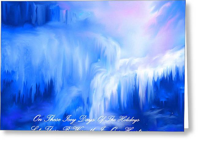 Ice Falls Greeting Card by Sherri's - Of Palm Springs