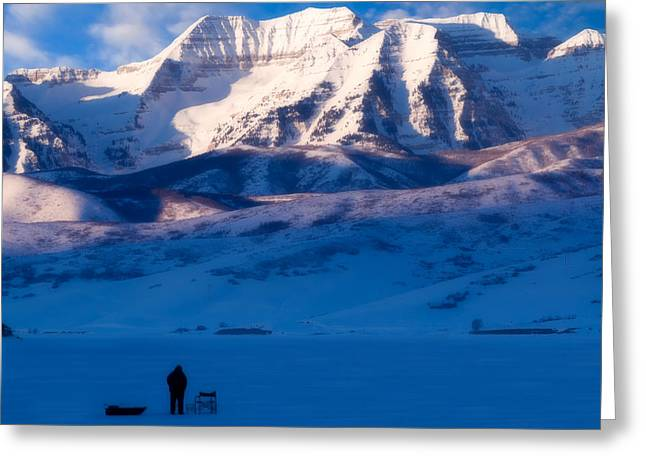 Ice Fisherman On A Winter Morning Greeting Card by Utah Images
