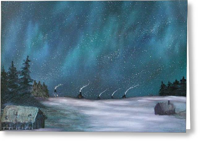 Ice Fishing Huts Greeting Card by Rebecca  Fitchett