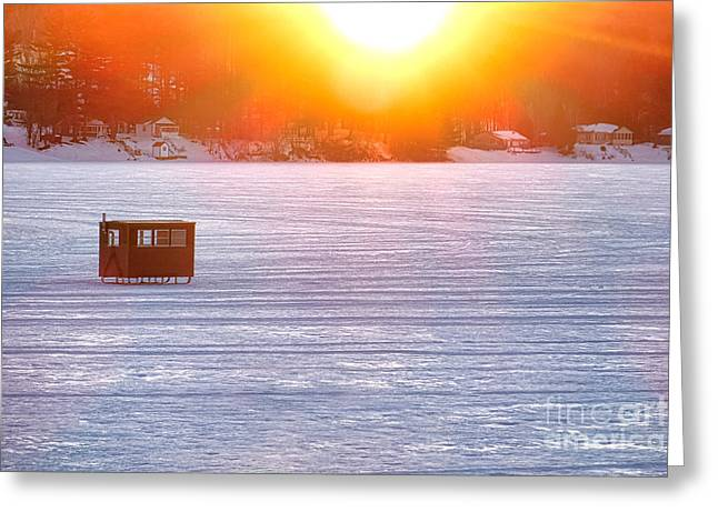 Ice Fishing On China Lake Greeting Card by Olivier Le Queinec