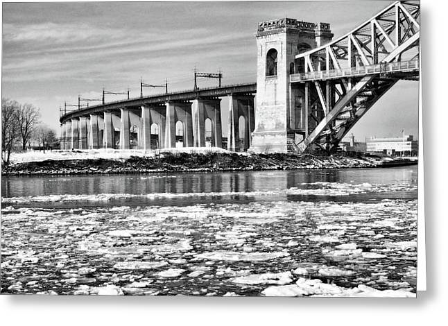 Ice Flows On The East River Greeting Card