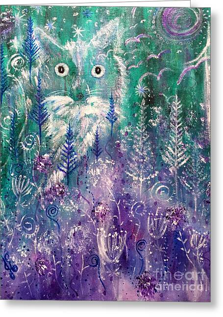 Greeting Card featuring the painting Ice Fox by Julie Engelhardt