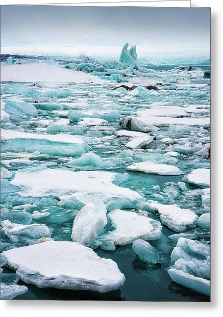 Greeting Card featuring the photograph Ice Galore In The Jokulsarlon Glacier Lagoon Iceland by Matthias Hauser