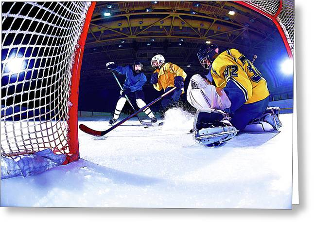 Ice Hockey Battle Through The Cage Greeting Card